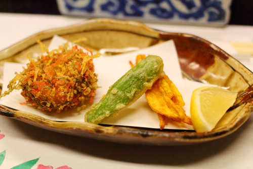 揚げ物 白魚のけんちん揚げ 野菜天麩羅 抹茶塩 レモン