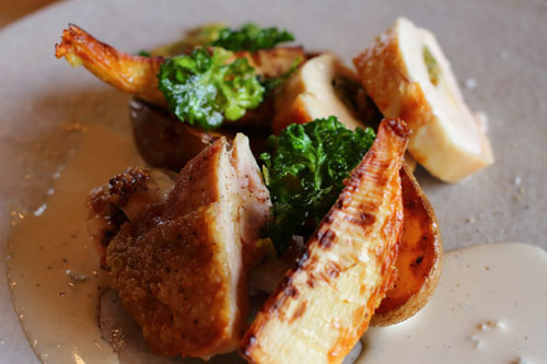 いわい鶏のグリルと筍のロースト ゴルゴンゾーラのクリームソース